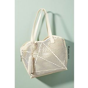 Anthropologie Perforated Faux Leather Tote Bag
